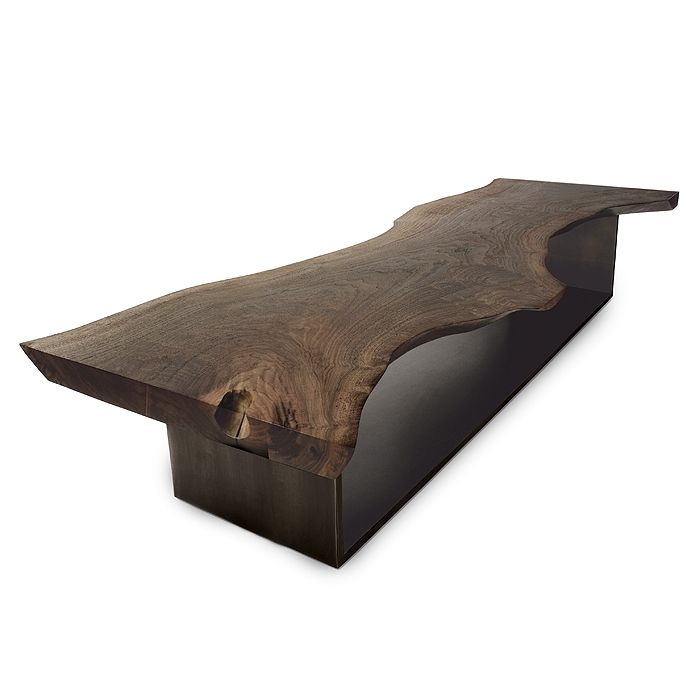 Hudson furniture live edge coffee table with steel base - Mobel wachsmann ...