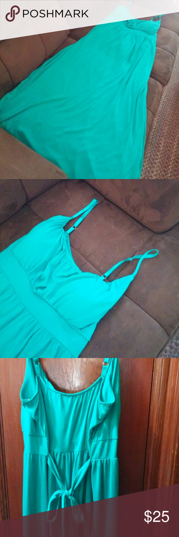 Allison Brittney brand maxi dress Size 3X Allison Brittney brand turquoise maxi dress. Has adjustable bra straps and lightly padded bra cups. Padding is removeable if you want it that way. Dress is soft and silky, very comfy! This is NWOT and has never even been tried on. Allison Brittney Dresses Maxi