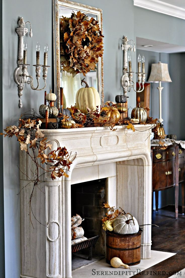 Inspiring Ideas For Fall Fireplace Mantel Decor! #fallmantledecor