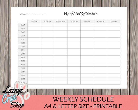 Weekly Schedule Printable, Class Schedule, Work Schedule Agenda