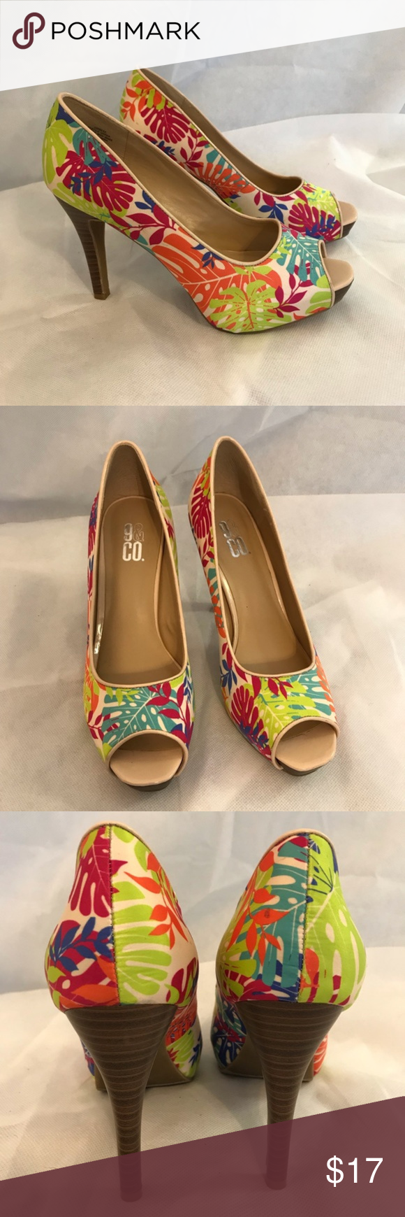 "9&Co High Heels Shoe Tropical Leaf Hawaiian Summer 9&Co High Heels Shoe Tropical Leaf Hawaiian Summer Multi Color  Size 9.5 - 5"" heel JJ Brese  Textile Upper, Man Made balance Very clean, almost new #1196 9&Co Shoes Heels"