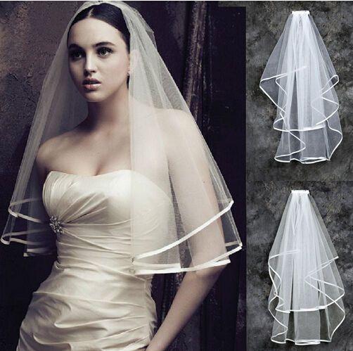 White Ivory 2t Wedding Bridal Veil Satin Edge With Comb: New 2T White Or Ivory Wedding Bridal With Veil Satin Edge