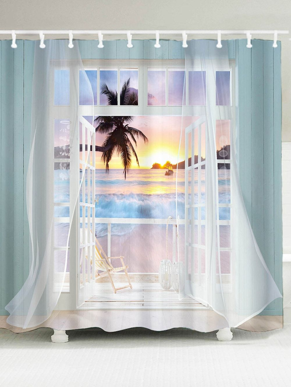 Waterproof 3d False Window Sunset Printed Shower Curtain Cool
