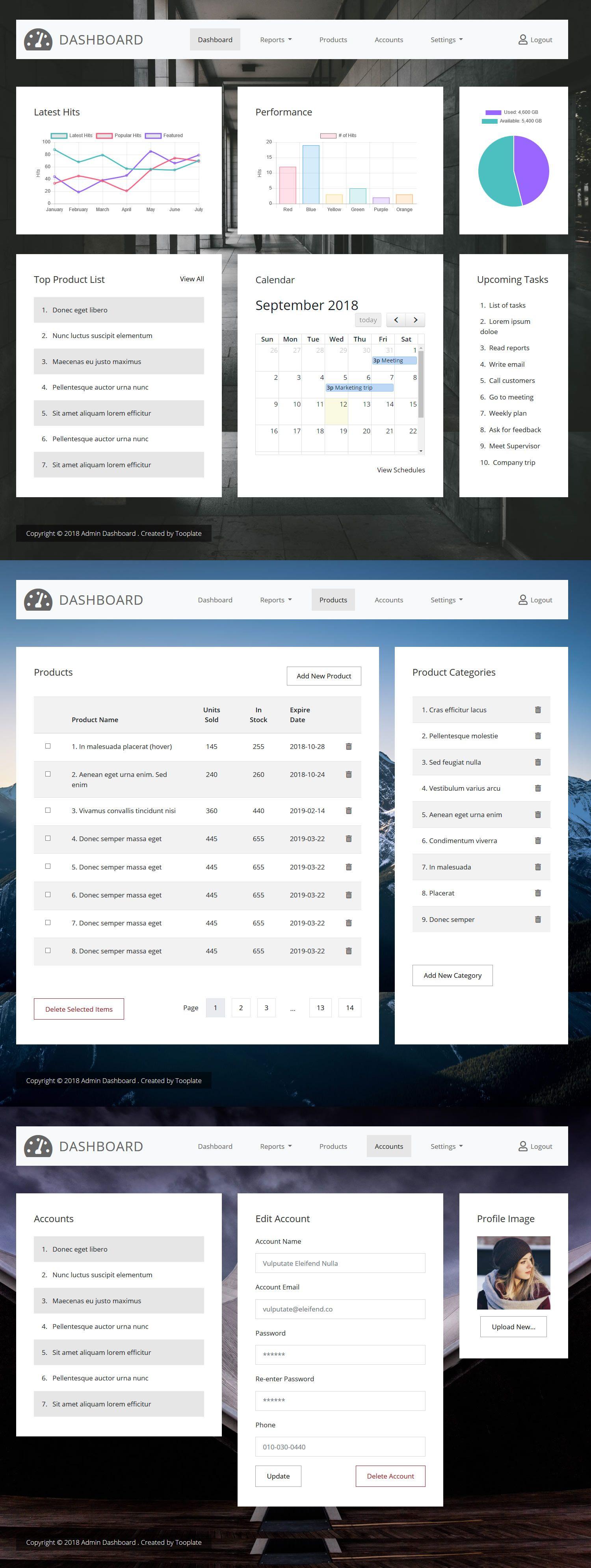Admin Dashboard HTML Template Charts, Product Add / Edit