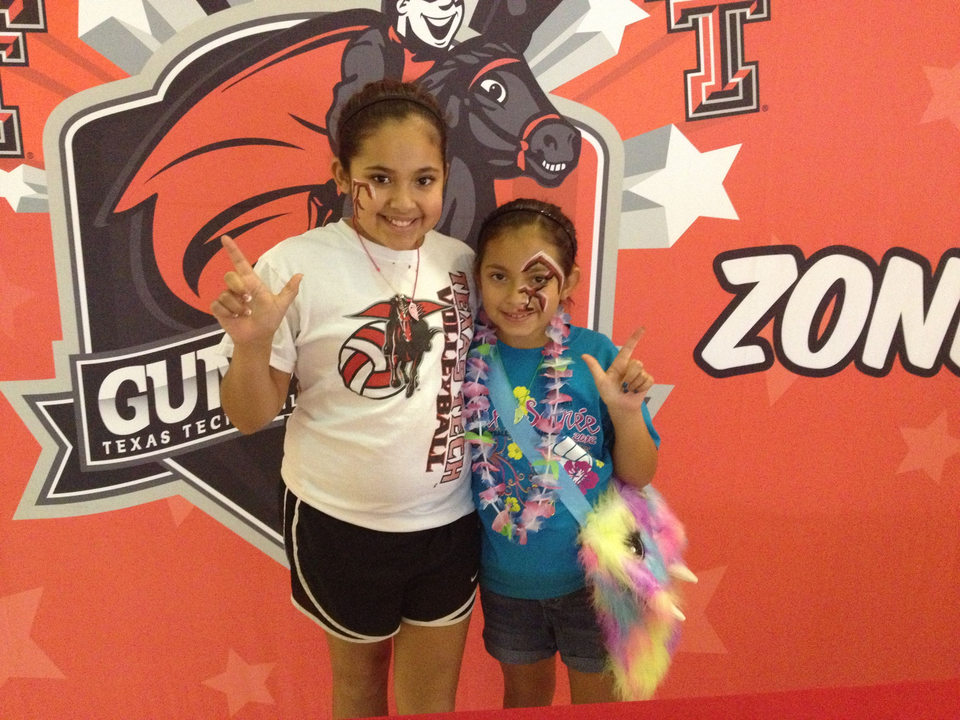 Young Raider Fans Show Their Supports For The Lady Raiders Volleyball Game Raiders Fans Red Raiders Red Raider