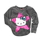 Hello Kitty Kids Top, Girls Graphic Terry Burnout Top