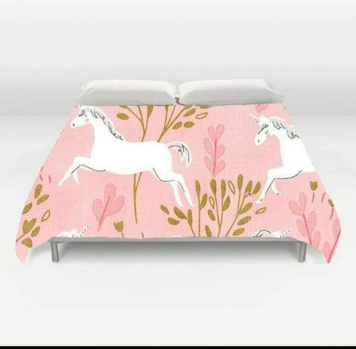 Custom Made Unicorn Duvet Cover Blanket Metallic Gold King Queen Twin