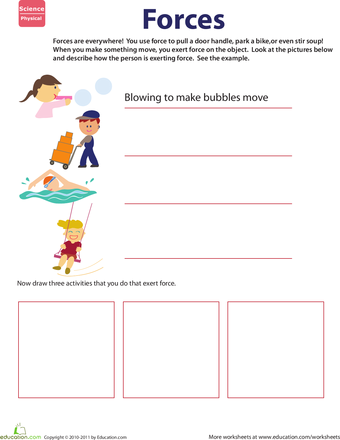 Learn About Force Worksheet Education Com Second Grade Science Science Worksheets First Grade Science