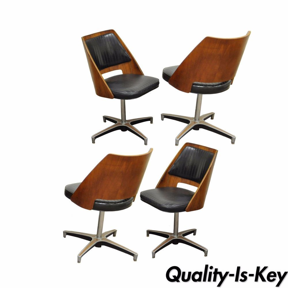 Incredible 4 Vintage B Brody Mid Century Modern Bentwood Walnut Swivel Gmtry Best Dining Table And Chair Ideas Images Gmtryco