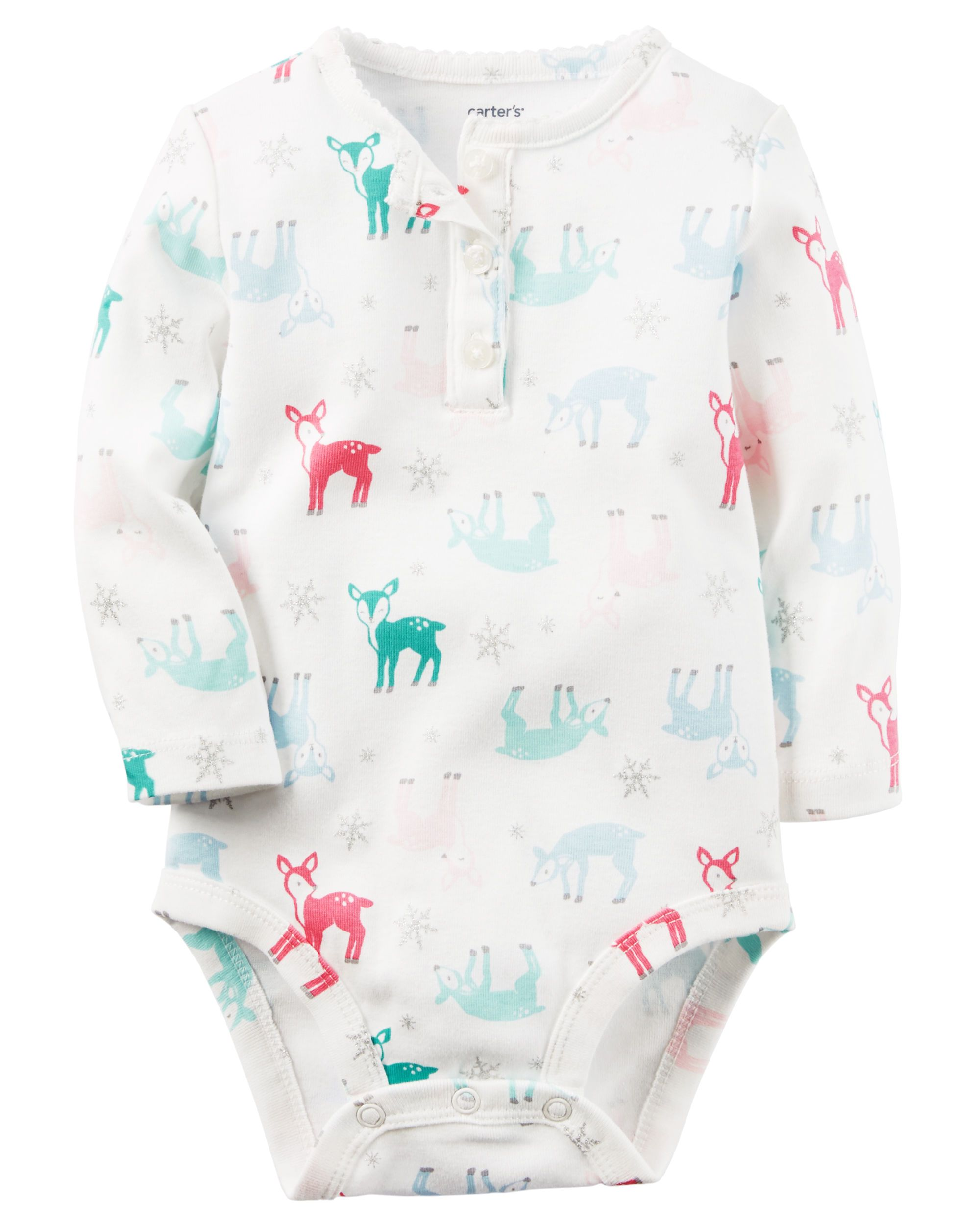4304dba3883e Baby Girl Deer Print Henley Bodysuit from Carters.com. Shop clothing &  accessories from a trusted name in kids, toddlers, and baby clothes.