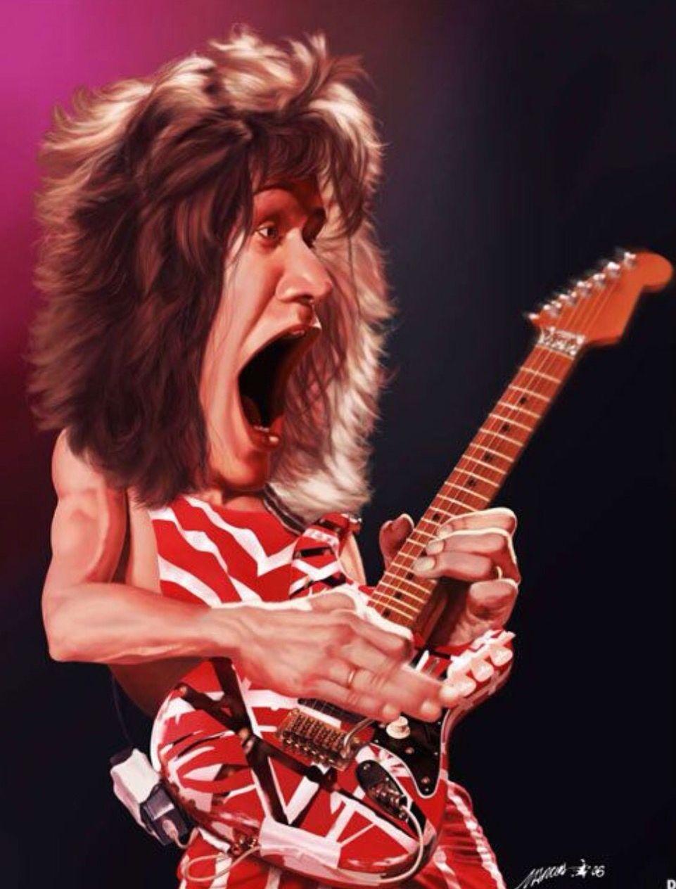 Caricatura De Eddie Van Halen Celebrity Caricatures Funny Caricatures Eddie Van Halen