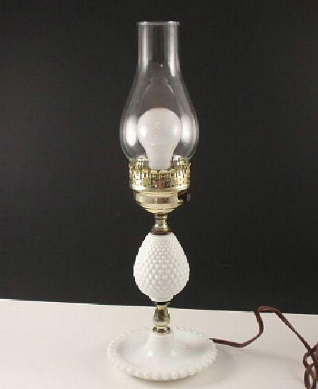 Vintage+Milk+Glass+Hobnail+Electric+Table+Lamp+Hurricane+Chimney+Student
