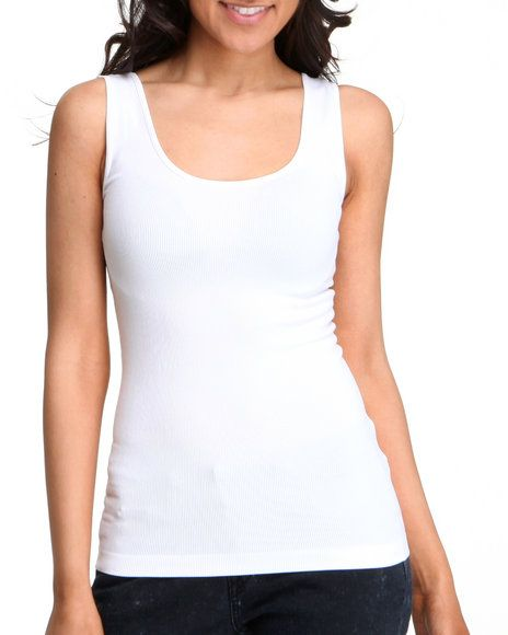 0269d2687d Buy Basic Essentials Women Seanless Double Scoop Tank Top White  Small/Medium and Wear It!