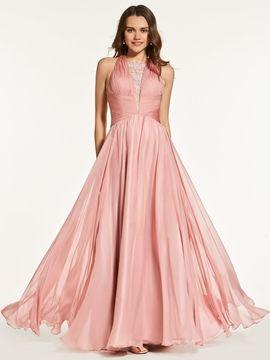 A Line Pleats Criss-Cross Straps Back Prom Dress #PromDresses #A #Line #Pleats #CrissCross #Straps #Back #Prom #Dress