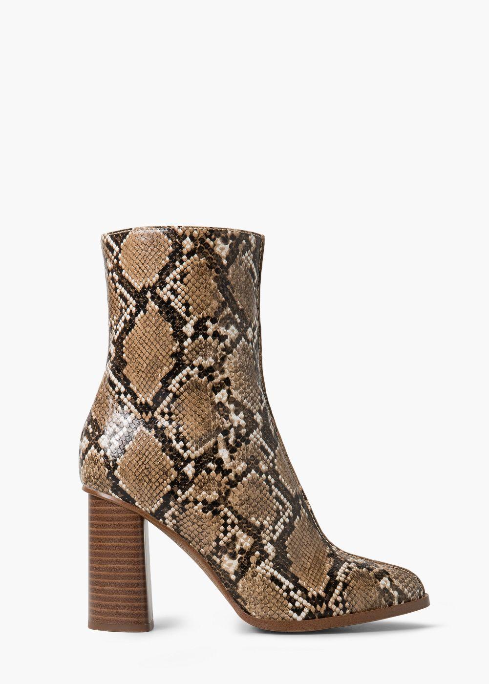Snake Effect Ankle Boots Women Mango United Kingdom Snakeskin Boots High Heel Boots Ankle Boots