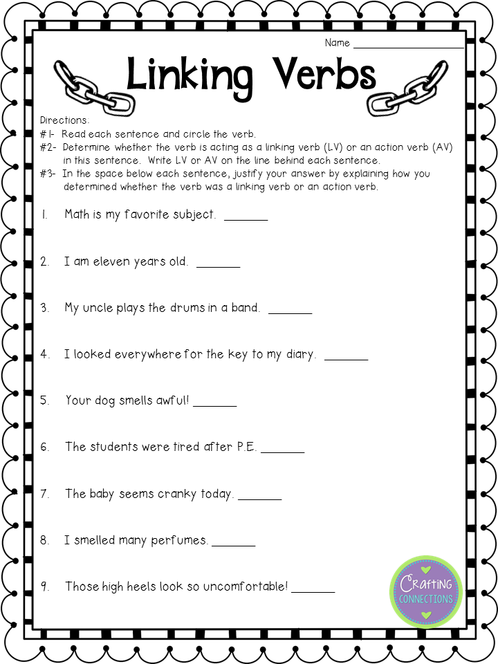 Free Linking Verbs Worksheet Check Out The Blog Post To See The Matching Anchor Chart Linking Verbs Verb Worksheets Verbs Anchor Chart