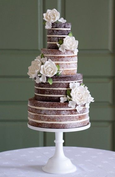 ANNA Cake Couture naked wedding cake with sugar flowers ...