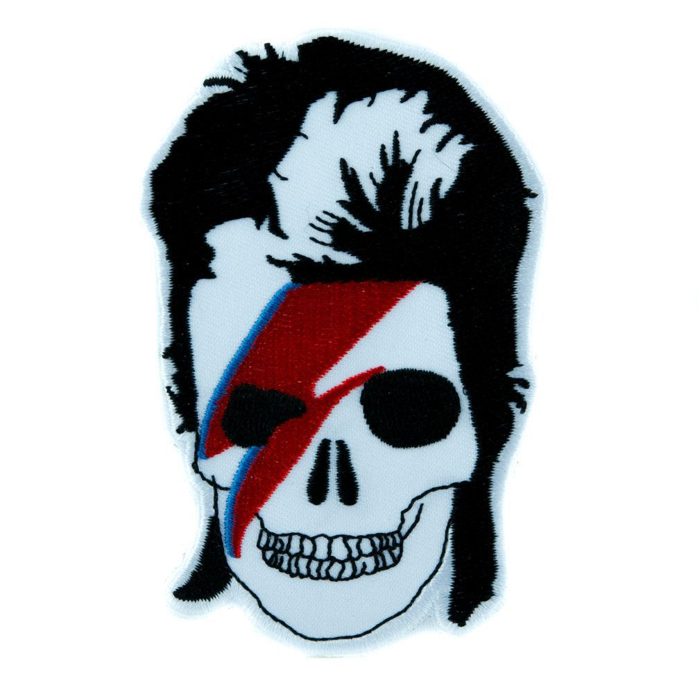 David Bowie Skull Lightning Bolt Patch Iron on Applique Ziggy Stardust Goth Punk