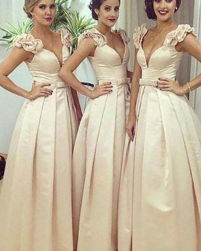 Deep V Neck Satin Ivory Pleated Ball Gown Bridesmaid Dress Bd2052