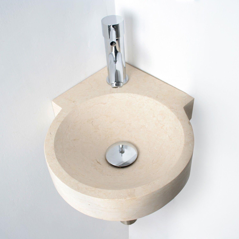 Badezimmer ideen marine und weiß vasque lavemains en pierre ronde lasy small  calcaire beige