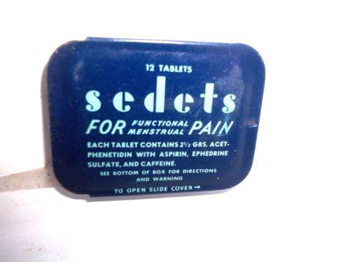 vintage medicine unused aspirin style Sedets for Pain tin feminine relief full