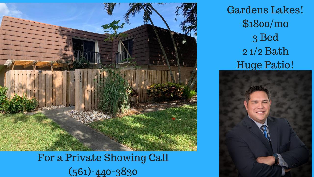 For Lease 1800 Mo 3 Bedroom Townhouse In Garden Lakes Palm Beach Gardens Florida Agentferguson R Palm Beach Gardens Palm Beach Palm Beach County