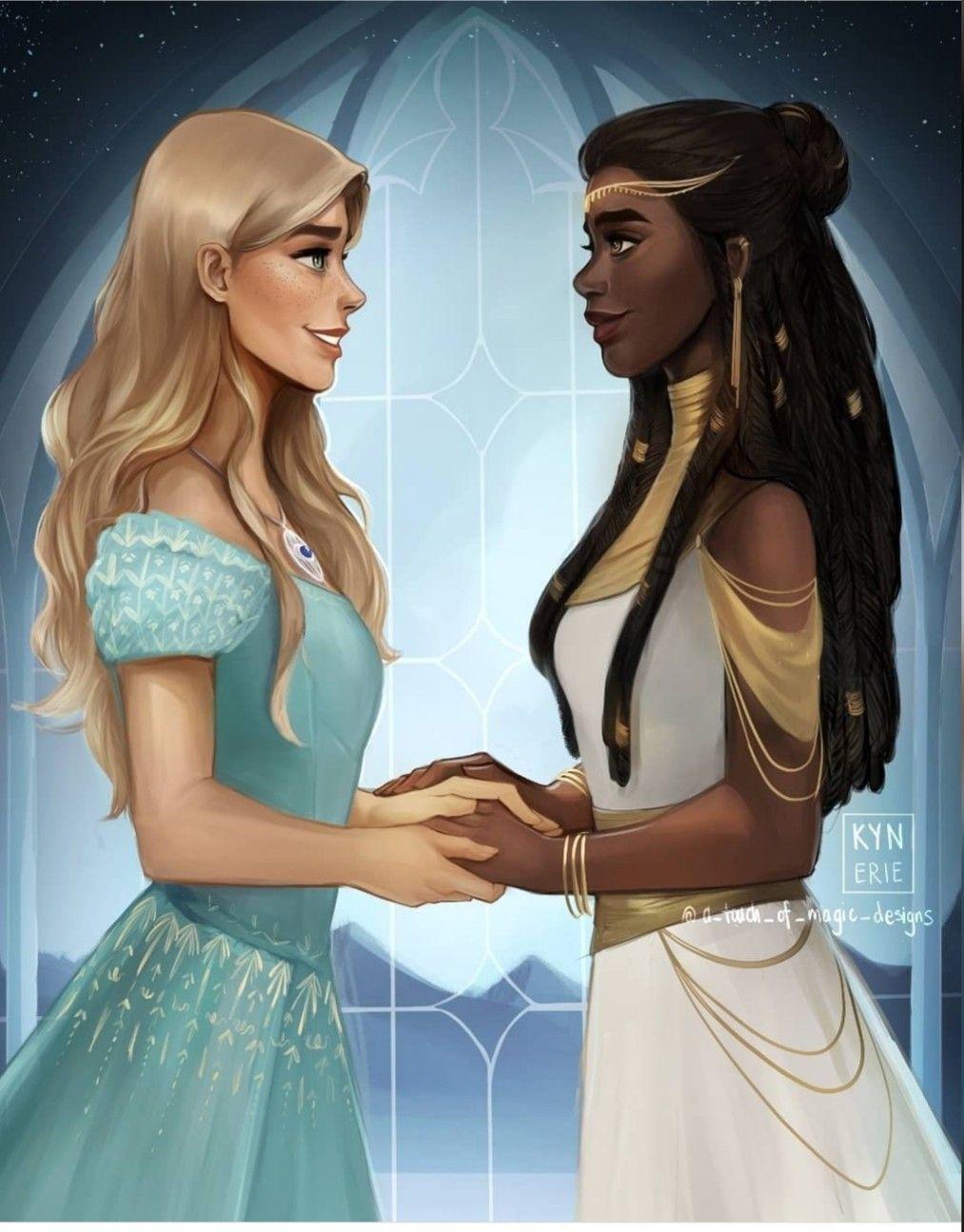 Aelin and nehemida in 2020 throne of glass throne of