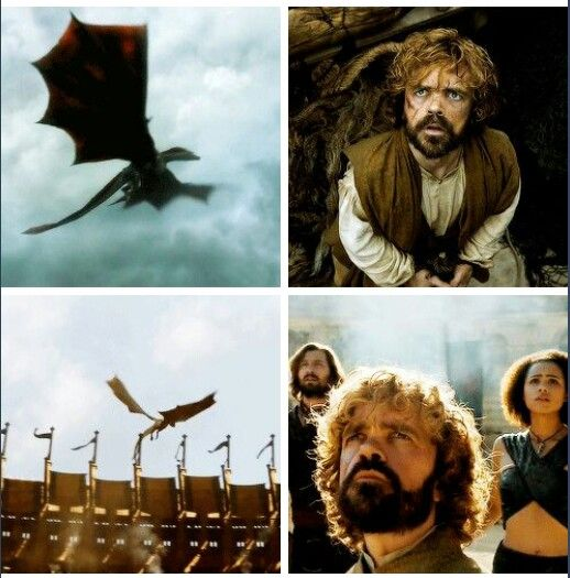 Peter Dinklage as Tyrion Lannister seeing Drogon for the first time, and then again as Drogon comes to rescue Daenerys Targaryen from The Sons of the Harpy
