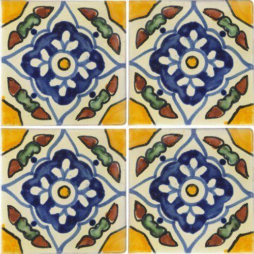 Decorative Tiles Amazon  4X4 Guadalajara  Talavera Mexican Tile  Decorative