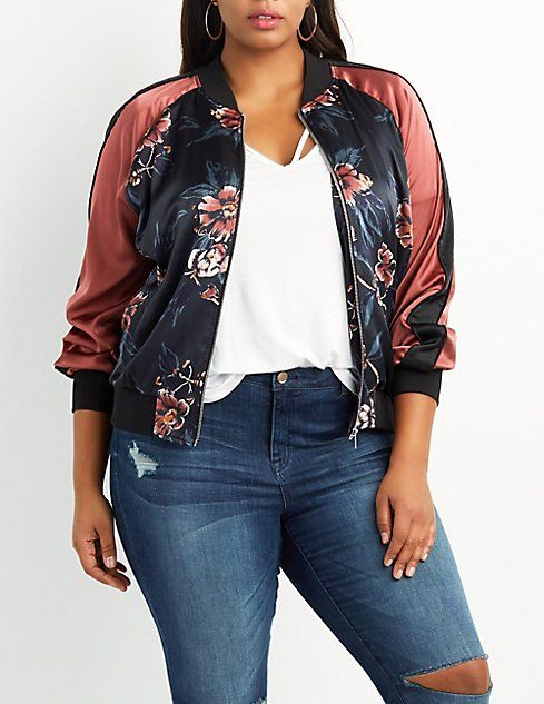 941b9034f27 Plus Size Floral Satin Bomber Jacket