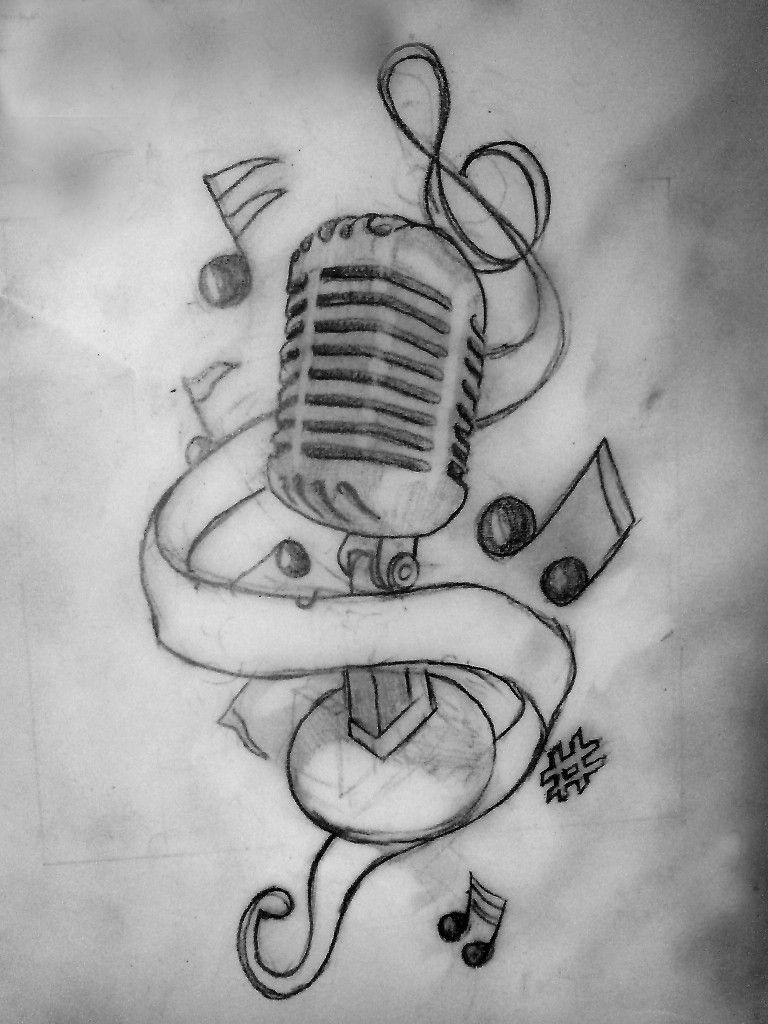 Music tattoos 1 dibujos microfono dibujo musica dibujos