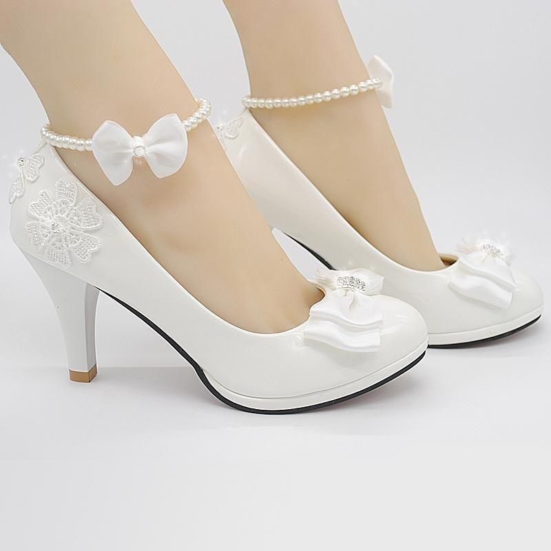 e256829f0ad  Visit to Buy  Large size 41-52 Wedding Shoes White bride Bridesmaid Shoes