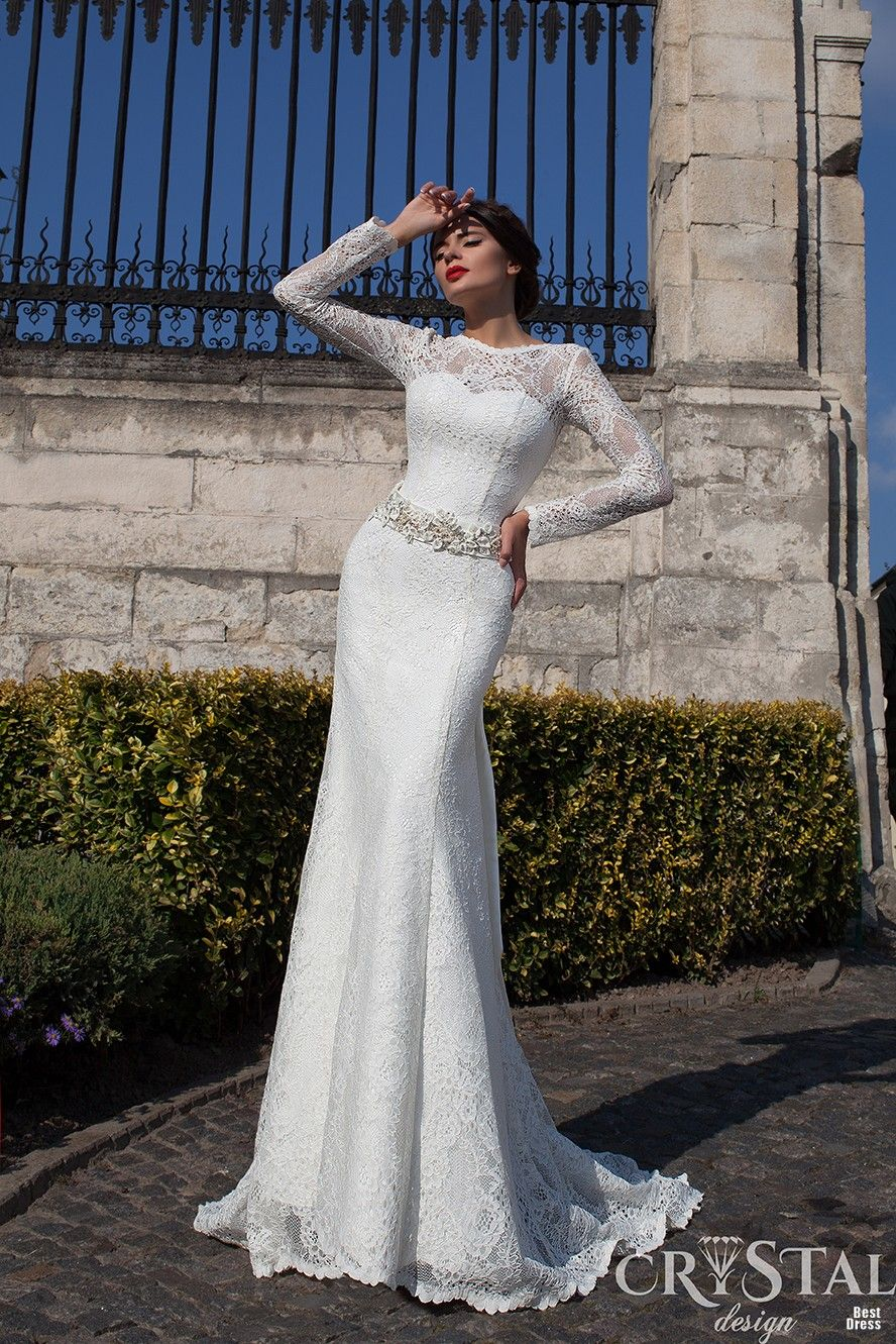 Crystal Design long sleeved wedding gown with lace bateau neckline     Crystal Design long sleeved wedding gown with lace bateau neckline