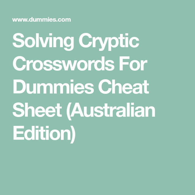 Cryptic Crosswords For Dummies