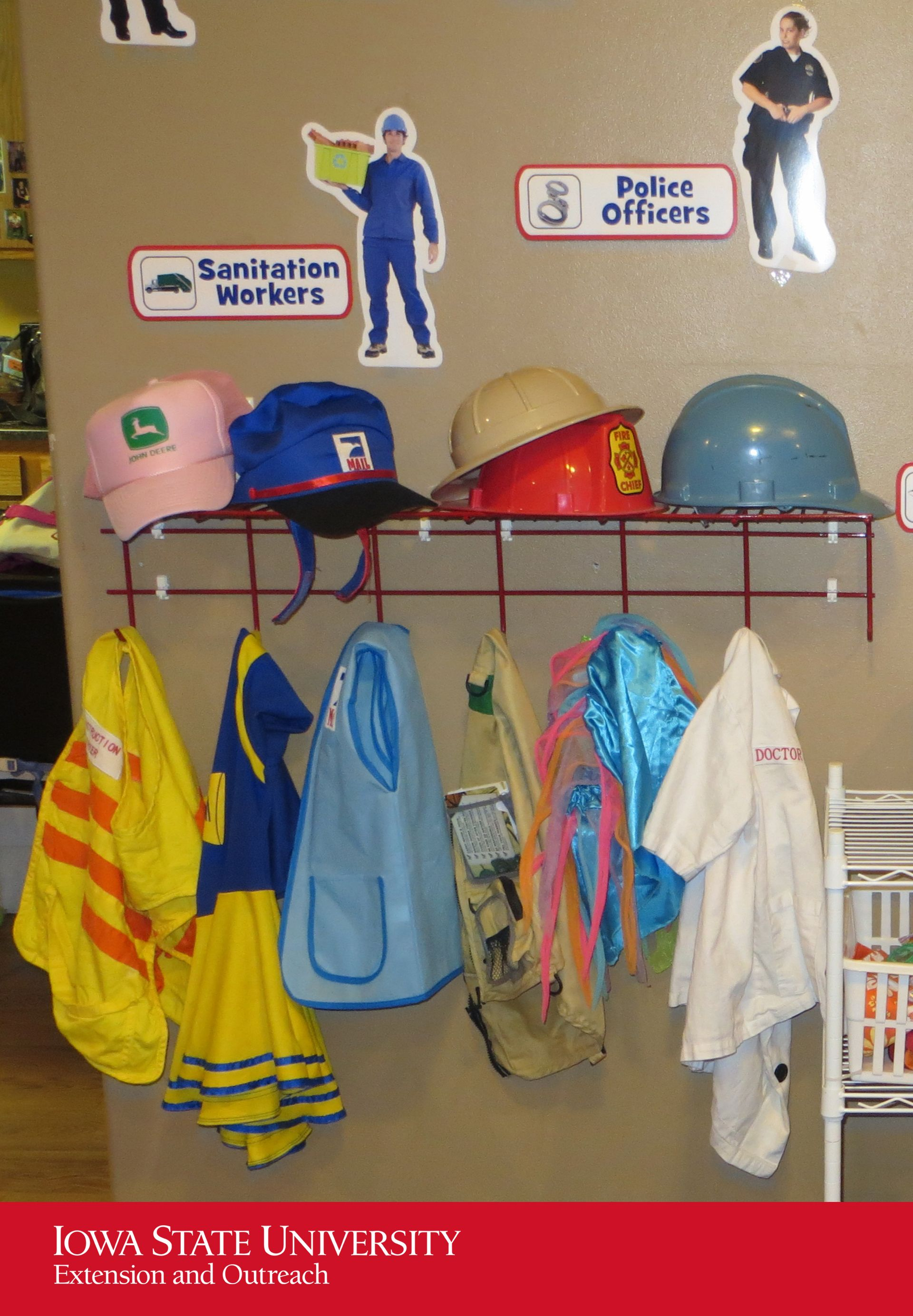 Dramatic Play Area Storing Dramatic Play Clothes On Hooks At Children S Level Ensures C Family Child Care Dramatic Play Preschool Child Development Activities