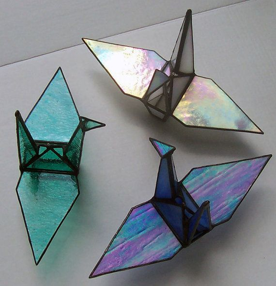 Photo of Iridescent Color, Blue, Stained Glass Origami Crane, Tsuru, Symbol of Peace, Prosperity, Fidelity, Longevity. Hanging Ornament, Suncatcher