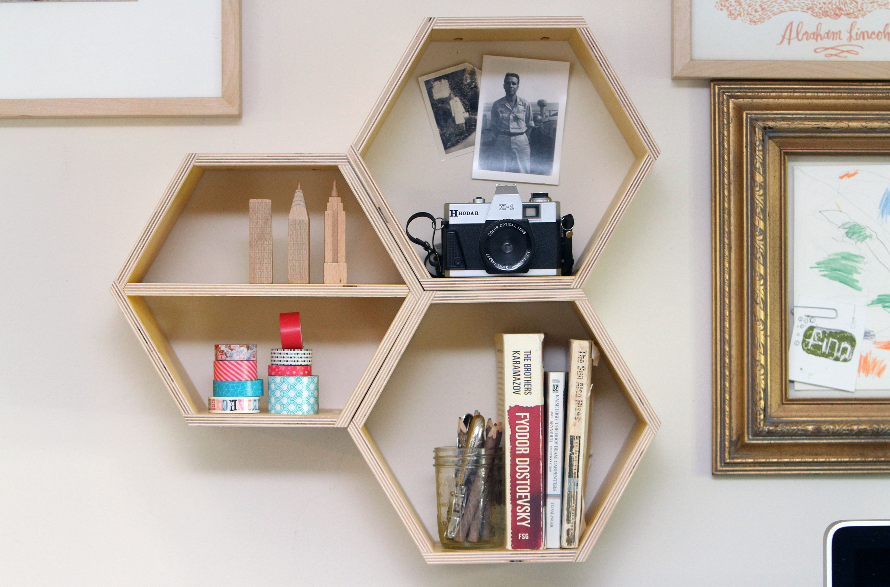solid oak shop white left limed angled shelf i bookshelf hexagon geometric honeycomb shot shelves