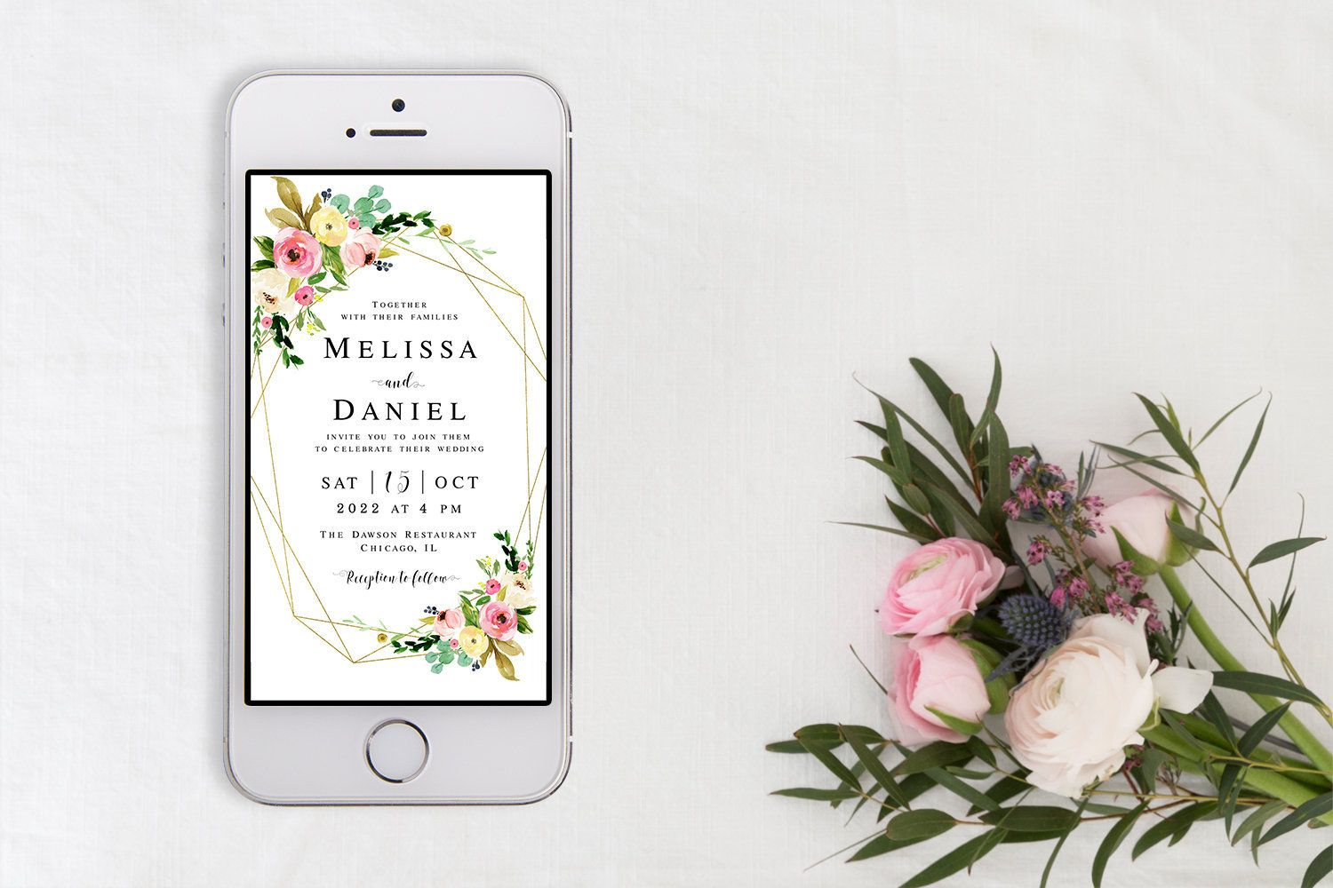 Electronic wedding invitation template Fully editable Text