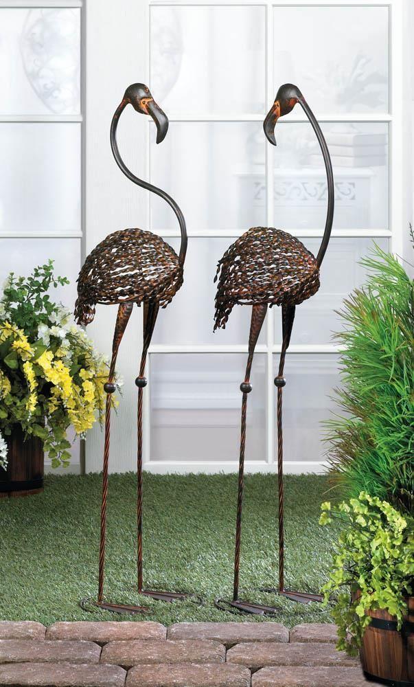 Flamingos   Cast Iron Garden Decor   Set Of 2