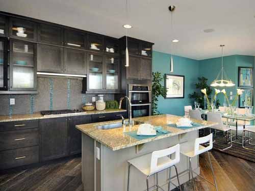 Love The Dark Cabinets But Love How The Teal From Neighbouring Room Is In The Backsplash Disp Bold Kitchen Kitchen Cabinets Color Combination Kitchen Colors