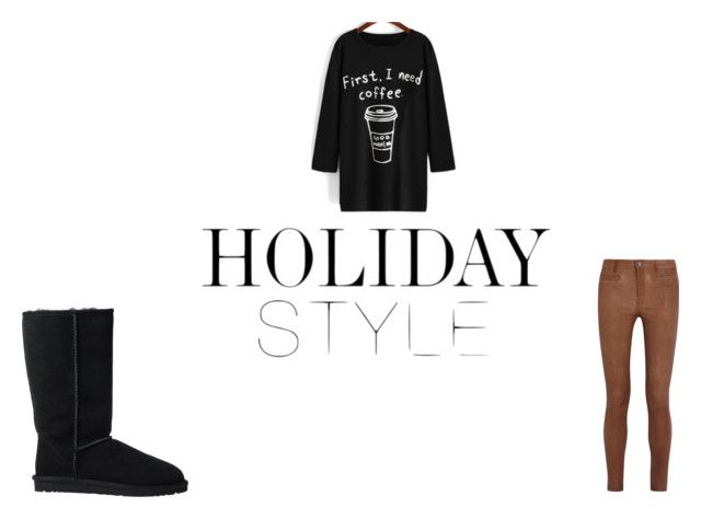 """Quick outfit"" by jaylaspin ❤ liked on Polyvore featuring MiH Jeans, UGG Australia and coffee"
