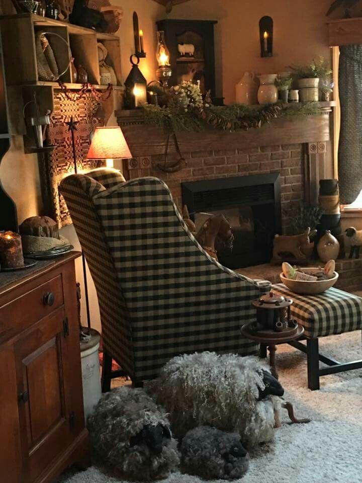 mesmerizing primitive living room decorating | Idea for corner fireplace at river house. | Primitive ...