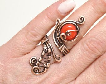 Wire wrapped ring, copper wire with red crystal stone ring, wire ...