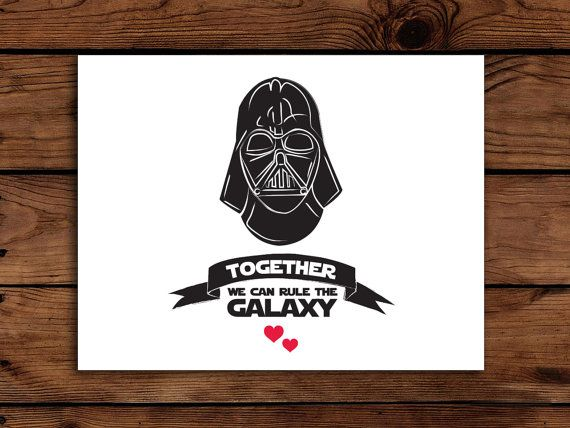 Star Wars Valentine Card Printable Darth By Somebodylovedshop