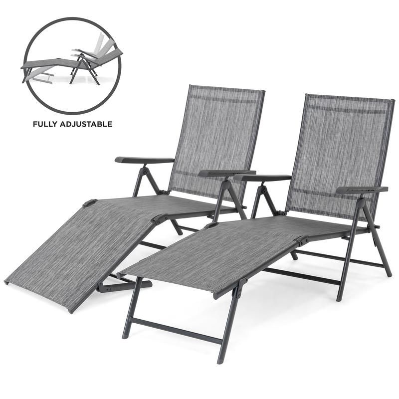 Set Of 2 Outdoor Patio Chaise Recliner Lounge Chairs W Rust Resistant Frame Lounge Chair Outdoor Patio Chaise Outdoor Chair Set