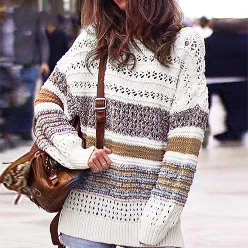 Women/'s Sweater Tops Autumn Striped Outwear Sweater Knitted Round Neck