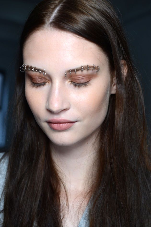 "Next level ""bold brows"" (thanks to faux piercings) + fresh makeup at Rodarte: http://beautyeditor.ca/2014/09/12/rodarte-spring-2015-makeup"