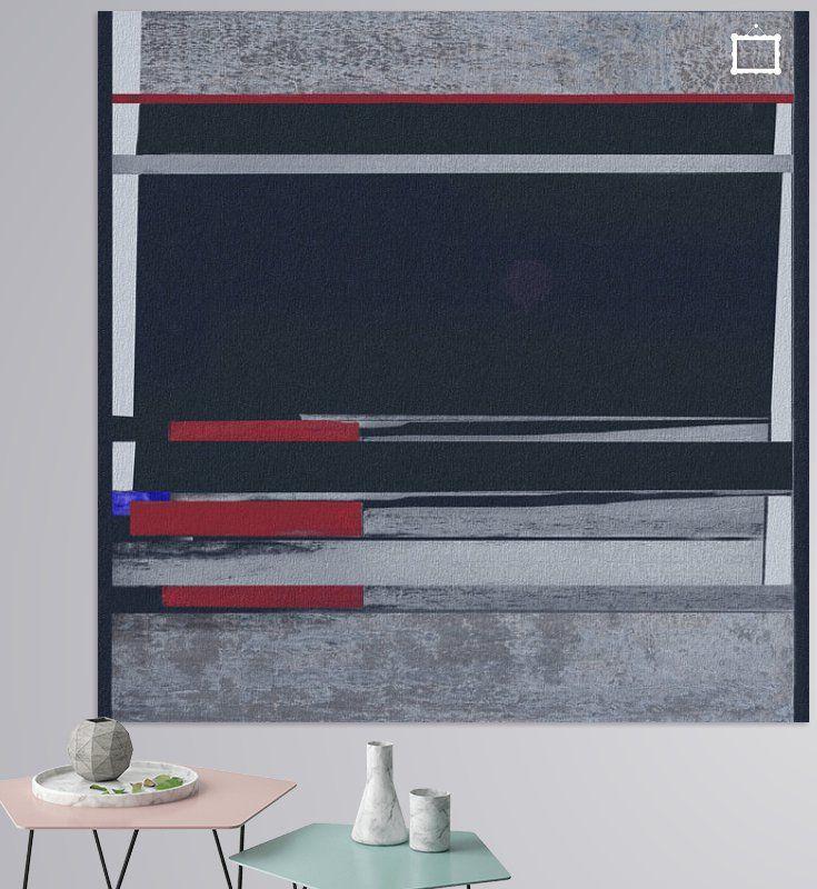 Geometrische Linien- Streifen Schwarz-rot-weiß In Grau