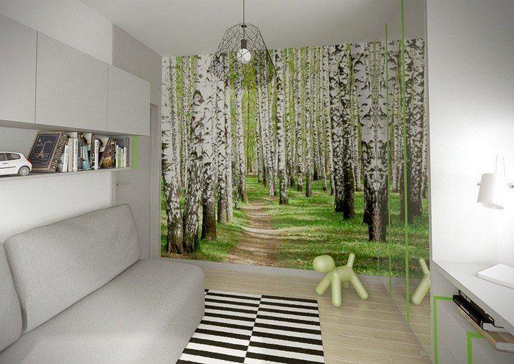 Fototapete birkenwald und kleiderschrank mit spiegelt ren for Fototapete birkenwald