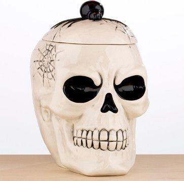 halloween skull cookie jar contemporary holiday decorations world market - Halloween Skull Decorations